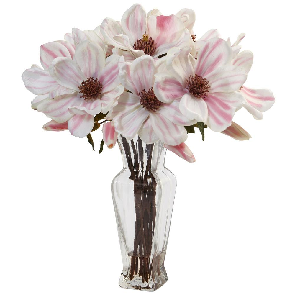 Indoor Magnolia Artificial Arrangement in Shapely Glass Vase