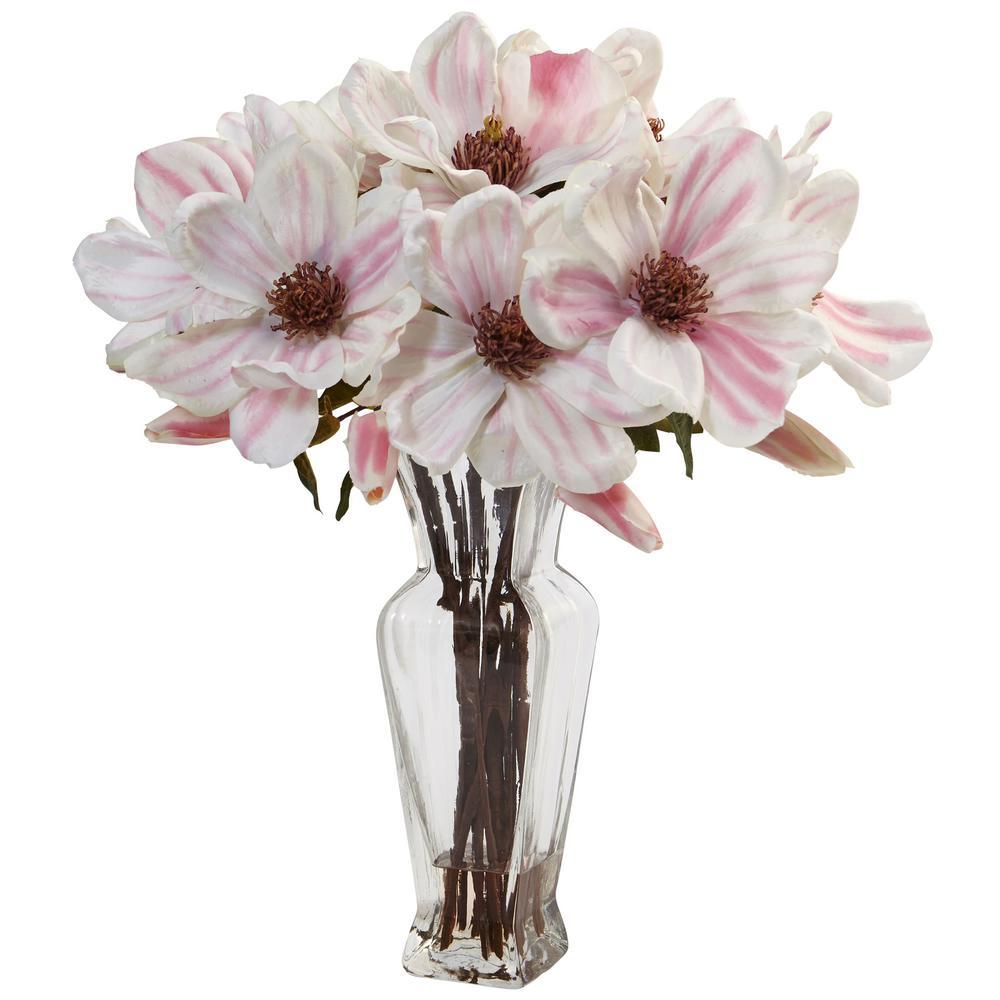 Indoor Magnolia Artificial Arrangement in Shapely Glass Vase