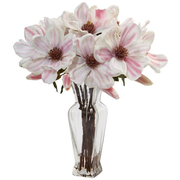 Nearly Natural Indoor Magnolia Artificial Arrangement in Shapely Glass Vase 1468
