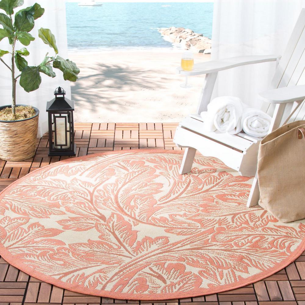 Courtyard Natural/Terracotta 5 ft. x 5 ft. Indoor/Outdoor Round Area Rug