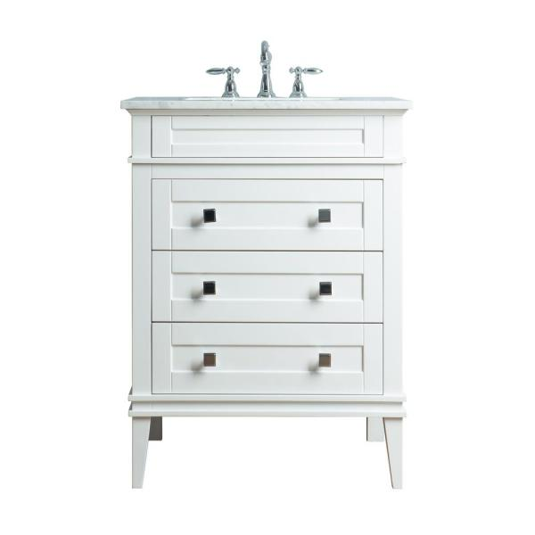 Corinne 36 in. Bath Vanity in White with Marble Vanity Top in White with White Basin