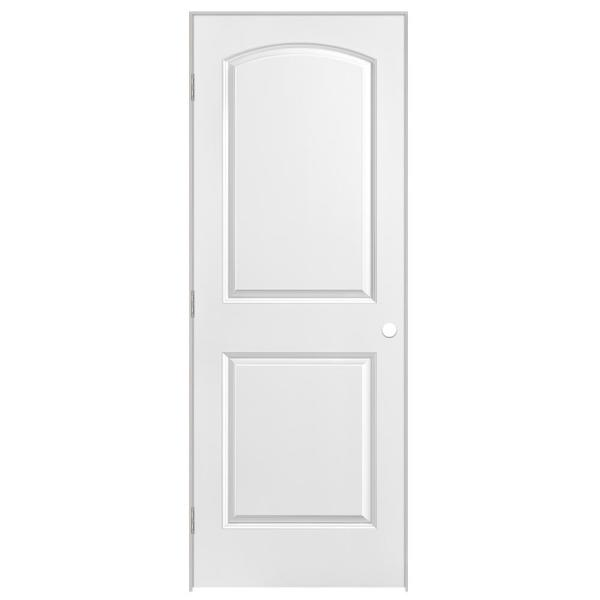 30 in. x 80 in. Roman 2-Panel Round Top Right-Handed Hollow-Core Smooth Primed Composite Single Prehung Interior Door