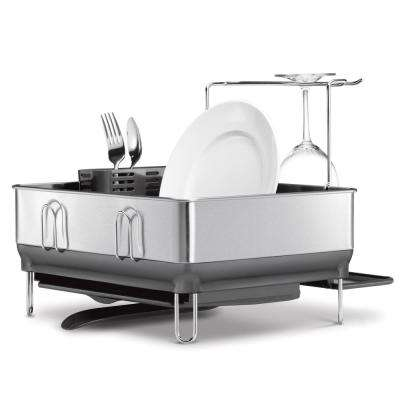Compact Steel Frame Dish Rack in Fingerprint-Proof Brushed Stainless Steel