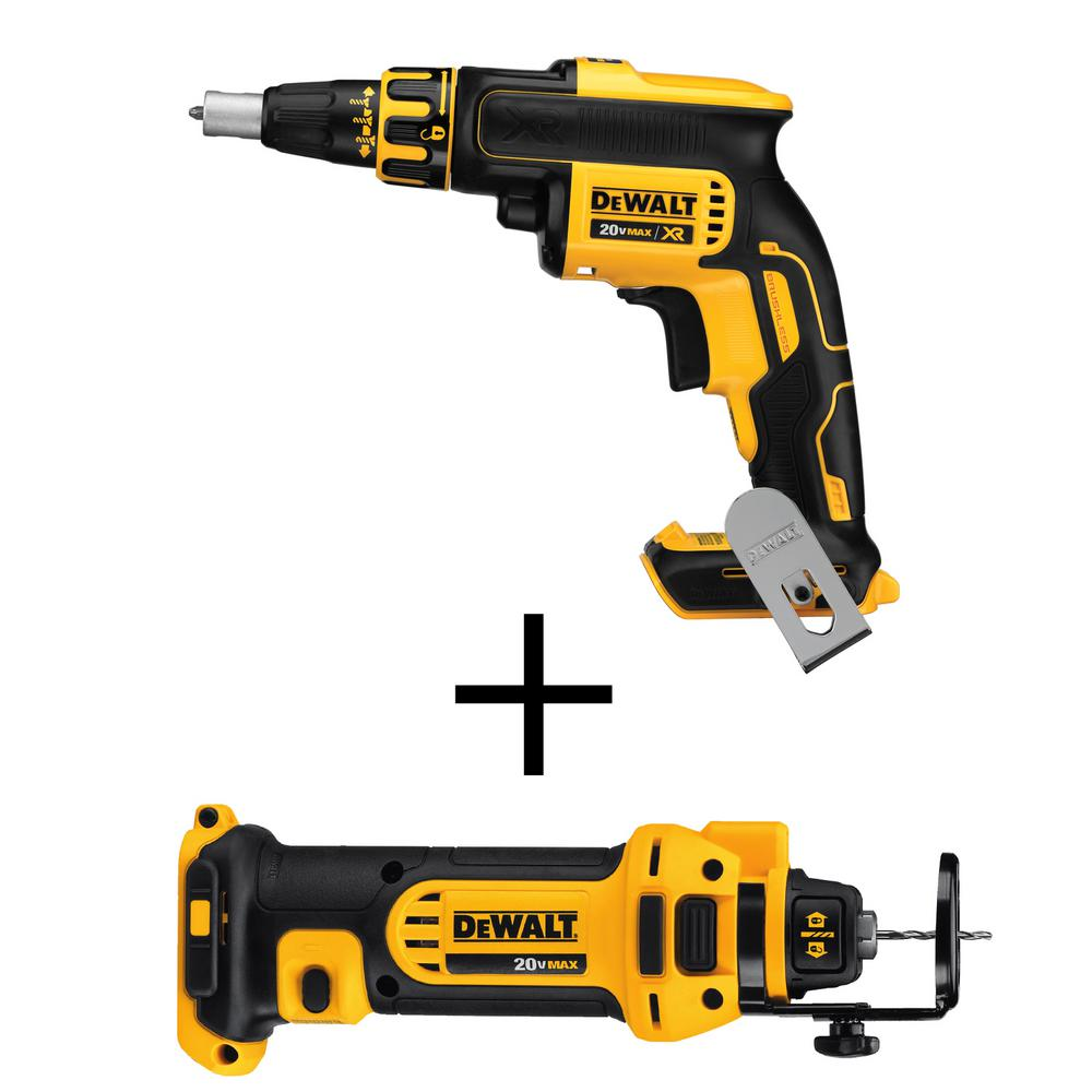DEWALT 20-Volt MAX XR Lithium-Ion Cordless Brushless Drywall Screw Gun Bonus Drywall Cut-Out Tool (Tool-Only)