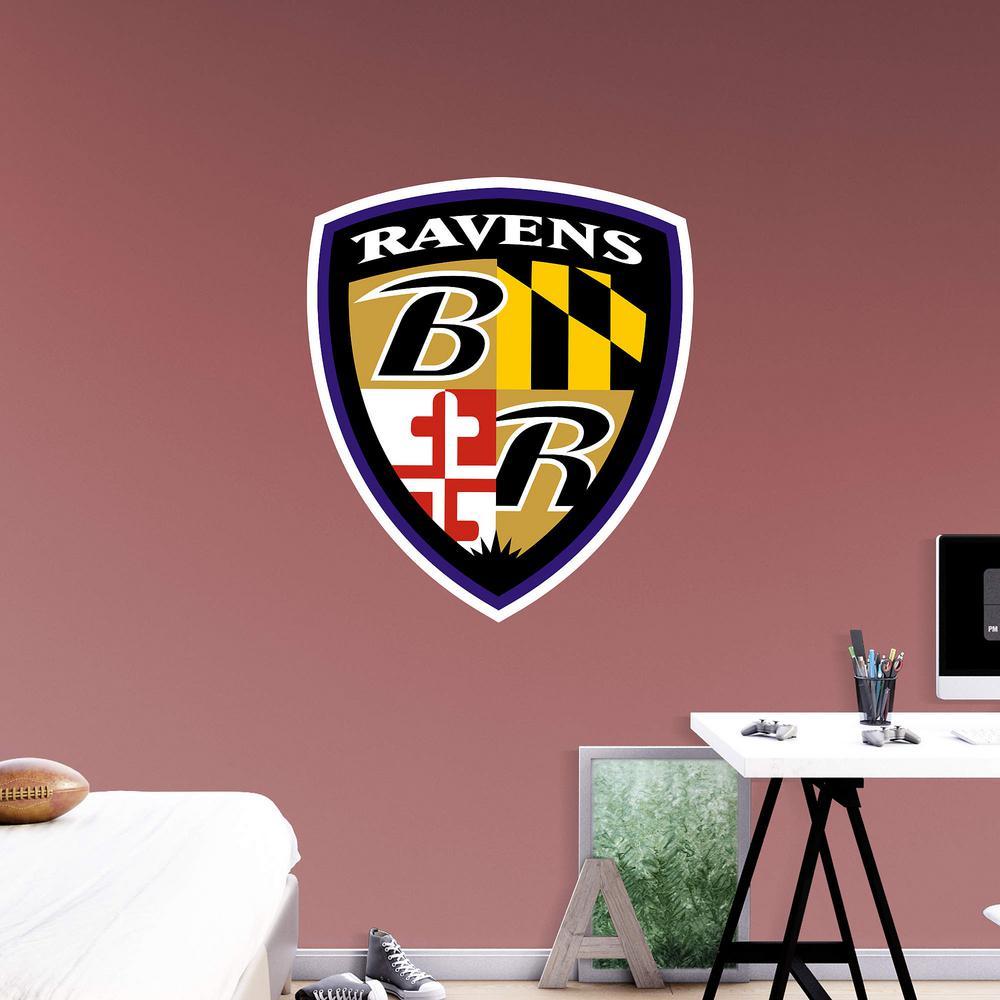 Internet #300043604 & Fathead 44 in. H x 38 in. W Baltimore Ravens Shield Logo Wall Mural ...