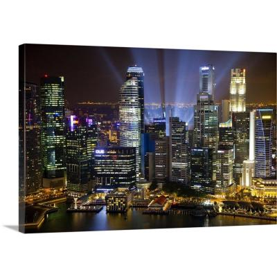 """30 in. x 20 in. """"Singapore. Downtown overview at night"""" by Jaynes Gallery Canvas Wall Art"""