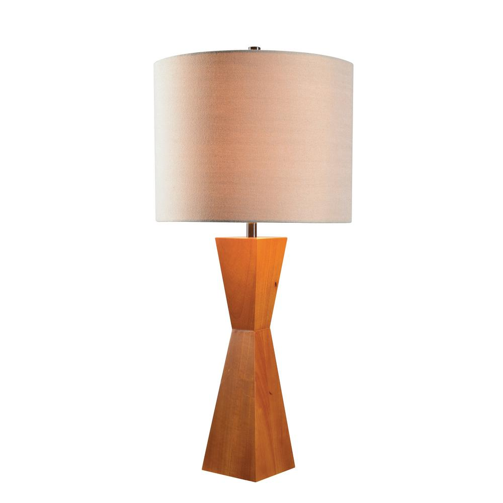 Wood Table Lamp With Tan Shade
