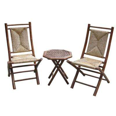 Shelly Natural 3-Piece Bamboo Patio Conversation Set