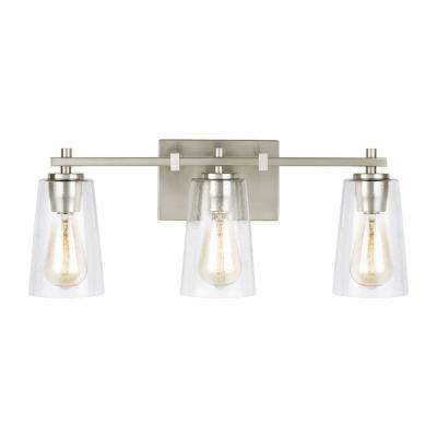 Mercer 21.5 in. W. 3-Light Satin Nickel Bath Light