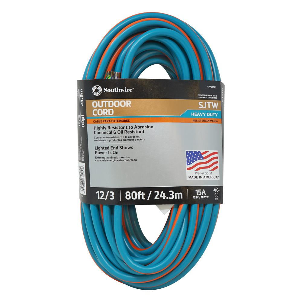 Southwire Southwire 80 ft. 12/3 SJTW Outdoor Heavy-Duty Extension Cord with Power Light Plug, Teal/Orange, Teal/ Orange