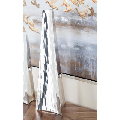 22 in. Stainless Steel Arrowhead Decorative Vase in Silver