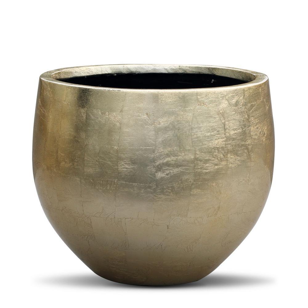 10.4 in. x 12.6 in. x 12.6 in. FiberStone Gold Leaf Lacquer Pot