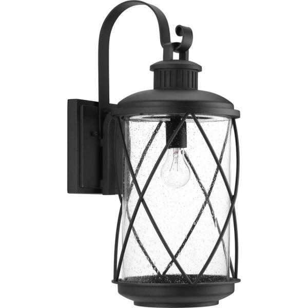 Hollingsworth Collection 1-Light Black 24 in. Outdoor Wall Lantern Sconce
