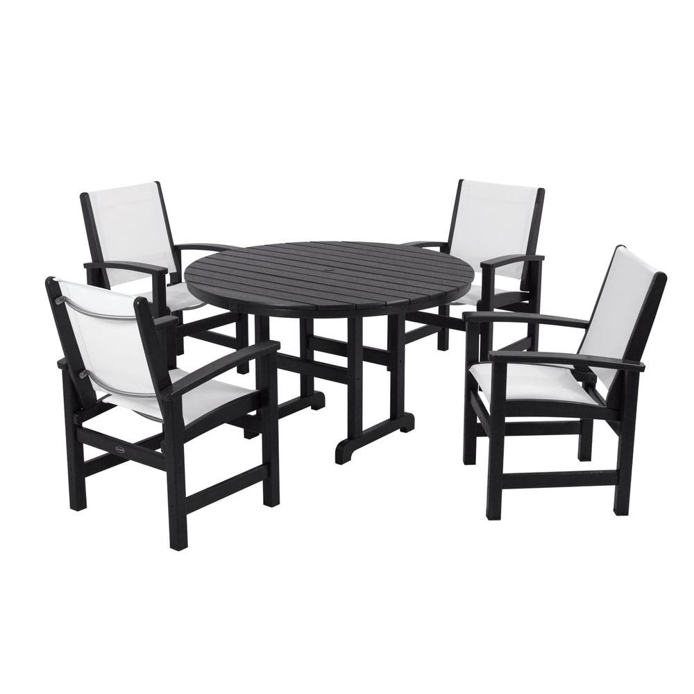 POLYWOOD Coastal Black All-Weather Plastic Dining Set in White Slings