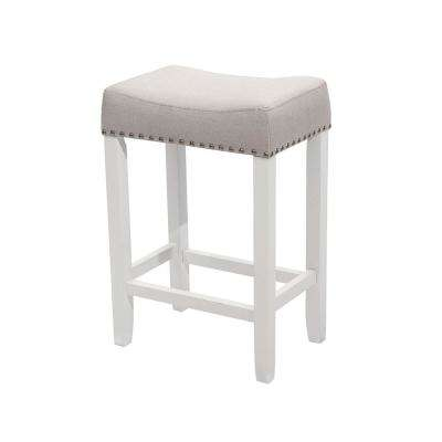 Hylie Nail Head 24 in. White and Gray Cushioned Bar Stool