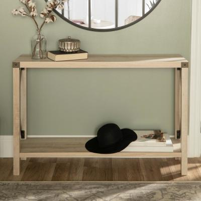 Industrial 46 in. White Oak Standard Rectangle Wood Console Table with Storage