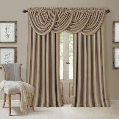Blackout All Seasons 52 in. W x 36 in. L, Single Window Valance Blackout Rod Pocket Solid Valance, Taupe