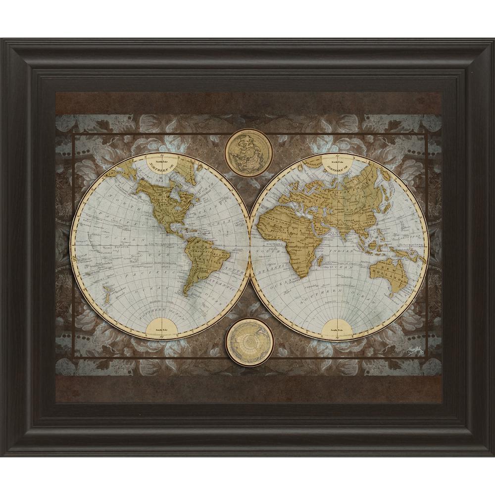 "22 in. x 26 in. ""World Map"" by Elizabeth Medley Framed Printed Wall Art"