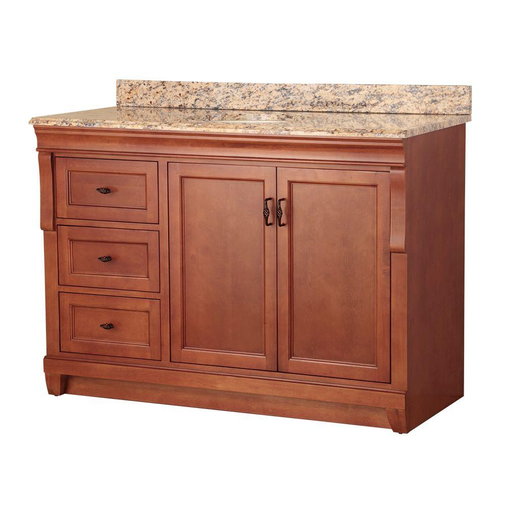 Foremost naples 49 in w x 22 in d bath vanity in warm - Bathroom vanity with drawers on left ...