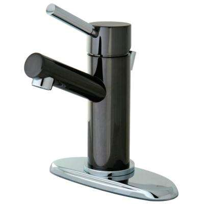 4 in. Centerset Single-Handle Bathroom Faucet in Black and Chrome