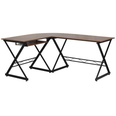87 in. L-Shaped Brown Computer Desks with Keyboard Tray