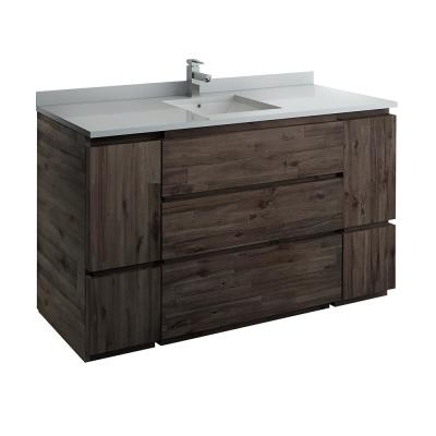 Formosa 60 in. Modern Vanity in Warm Gray with Quartz Stone Vanity Top in White with White Basin