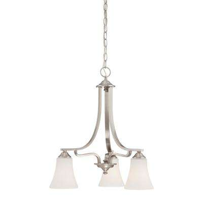 Treme 3-Light Brushed Nickel Chandelier With Etched White Glass Shades