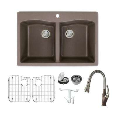 Aversa All-in-One Drop-in Granite 33 in. 1-Hole Equal Double Bowl Kitchen Sink with Faucet in Espresso