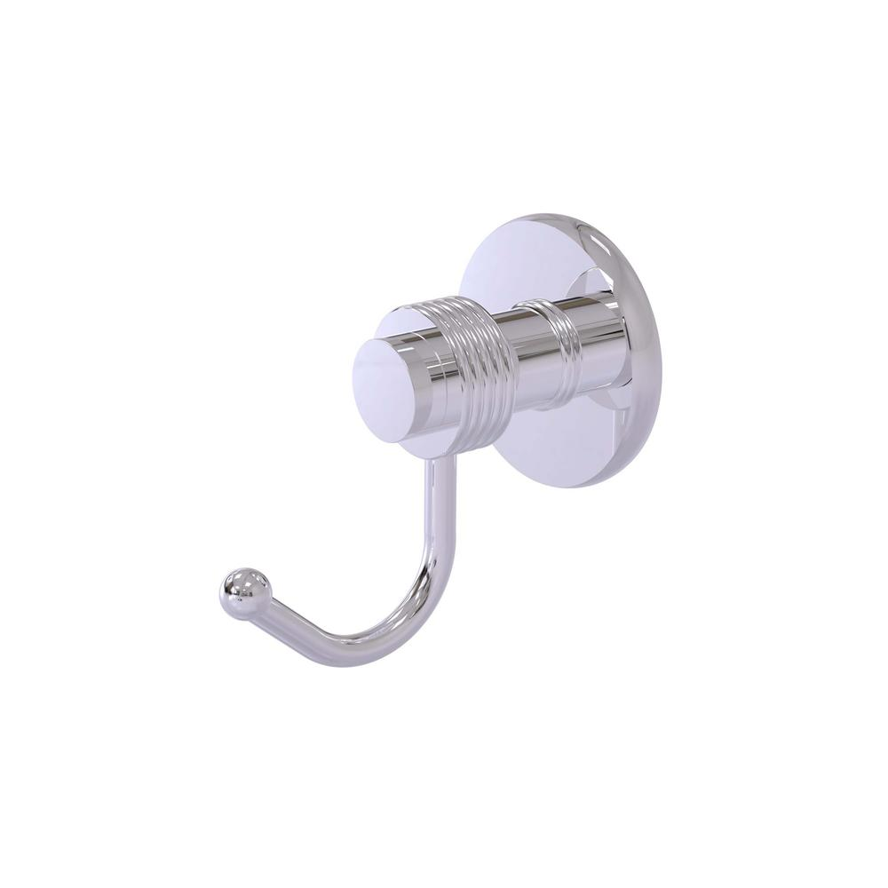 Mercury Collection Wall-Mount Robe Hook with Groovy Accents in Polished Chrome