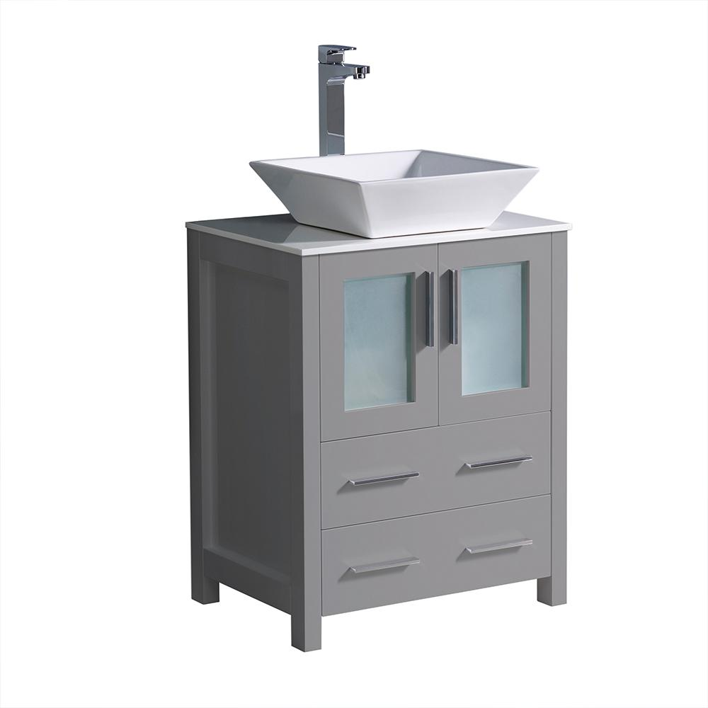 Fresca Torino 24 in. Bath Vanity in Gray with Glass Stone Vanity Top in White with White Vessel Sink