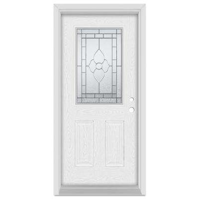 32 in. x 80 in. Traditional Left-Hand Patina Finished Fiberglass Oak Woodgrain Prehung Front Door Brickmould