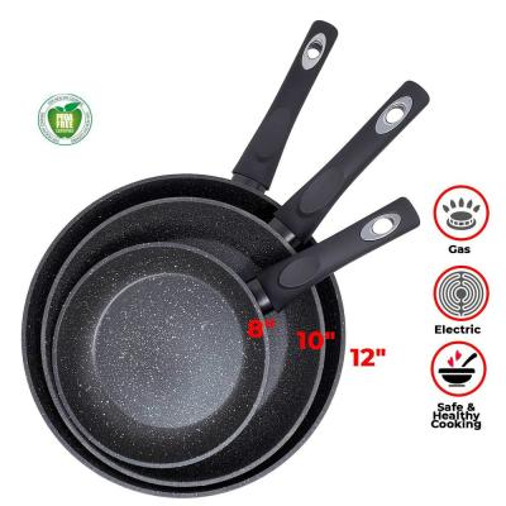 Royal Marble 3-Piece Aluminum Nonstick Frying Pan Set in Black
