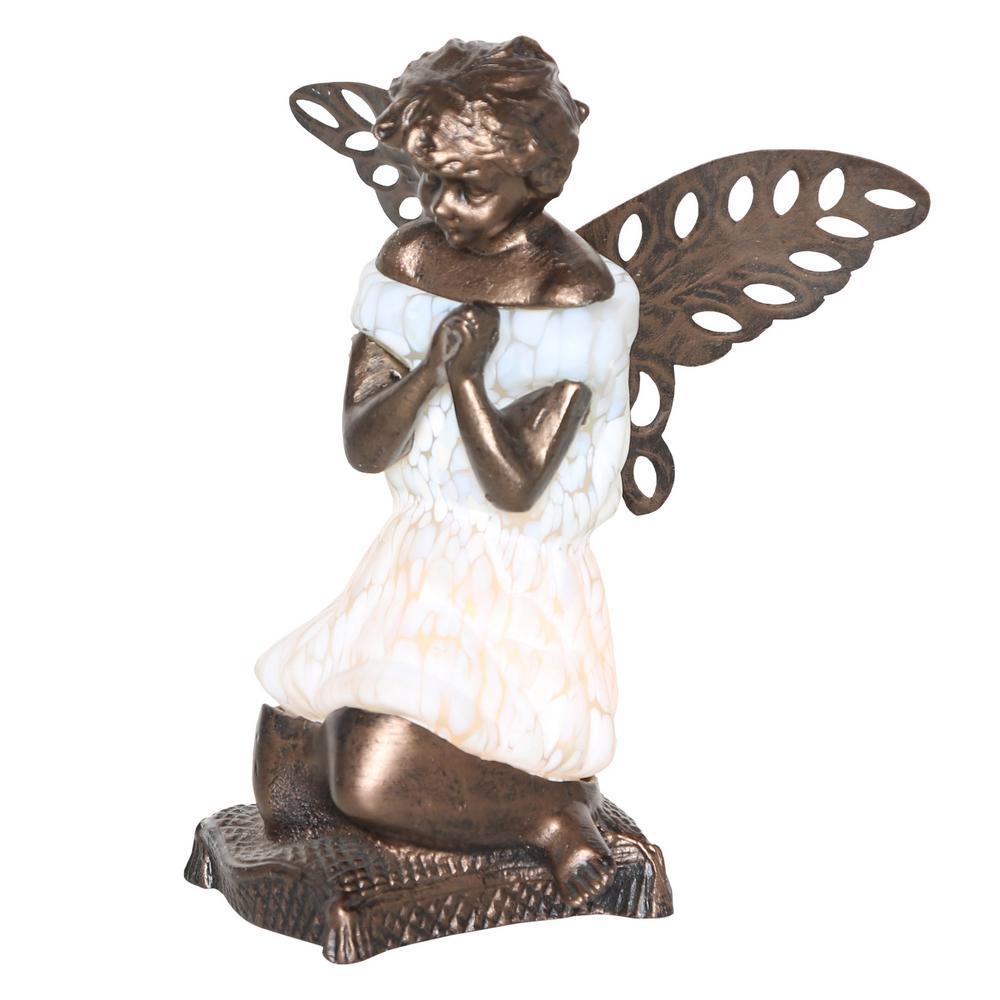 8.5 in. Matte White Praying Angel Accent Lamp