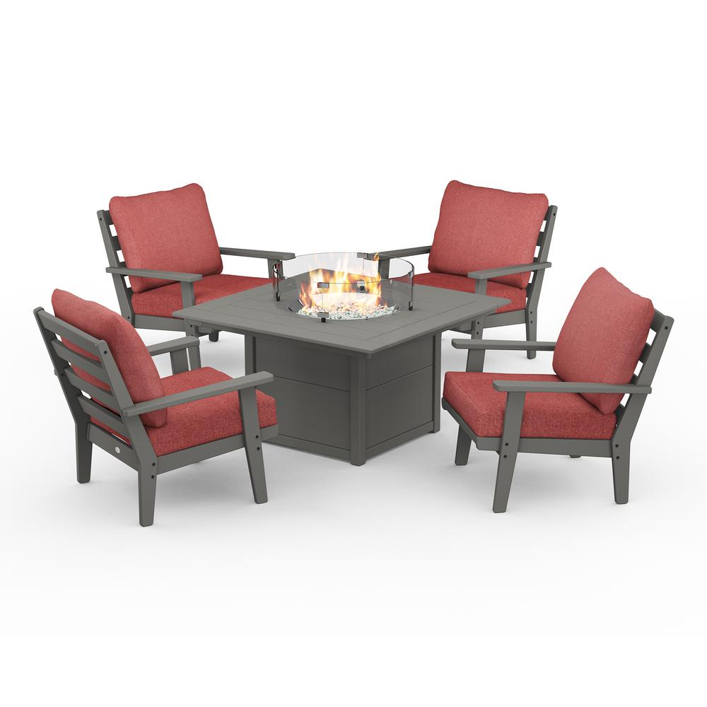 POLYWOOD Grant Park Grey 5-Piece Plastic Patio Deep Seating Conversation Set with Fire Pit Table with Silver Garnet Cushions