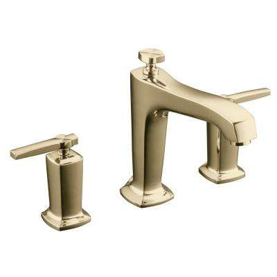 Margaux Deck-Mount High-Flow Bath Faucet Trim with Lever Handles in Vibrant French Gold (Valve Not Included)