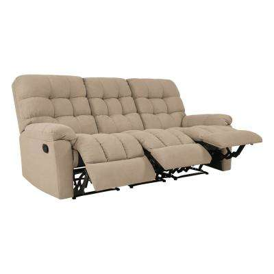 3-Seat Tufted Recliner Sofa in Barley Tan Plush Low-Pile Velvet