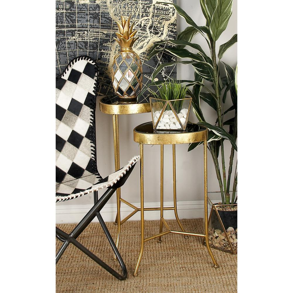 Black Rounded Triangular Glass Accent Tables With Gold Iron Frame And Legs  (Set Of 3