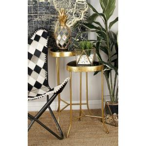 Black Rounded Triangular Glass Accent Tables with Gold Iron Frame and Legs (Set of 3) by