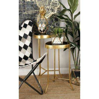 Black Rounded Triangular Glass Accent Tables with Gold Iron Frame and Legs (Set of 3)