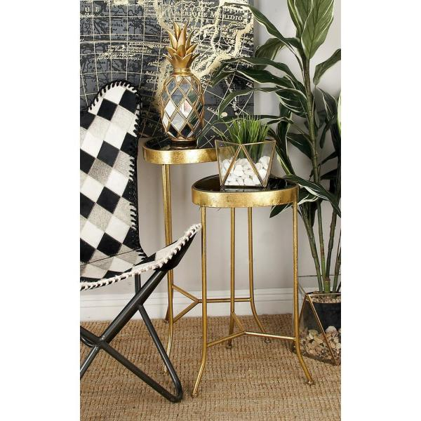 Litton Lane Black Rounded Triangular Glass Accent Tables with Gold Iron