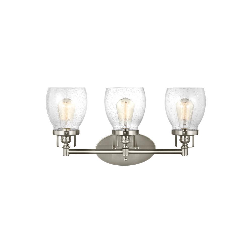 3 bulb light fixture washroom light sea gull lighting belton 21 in w 3light brushed nickel bath light