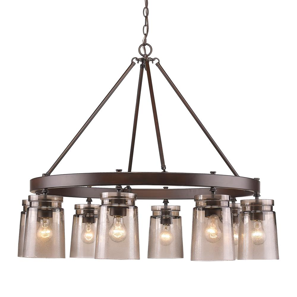 Golden Lighting Travers 8 Light Rubbed Bronze Chandelier With Frosted Gl Shades