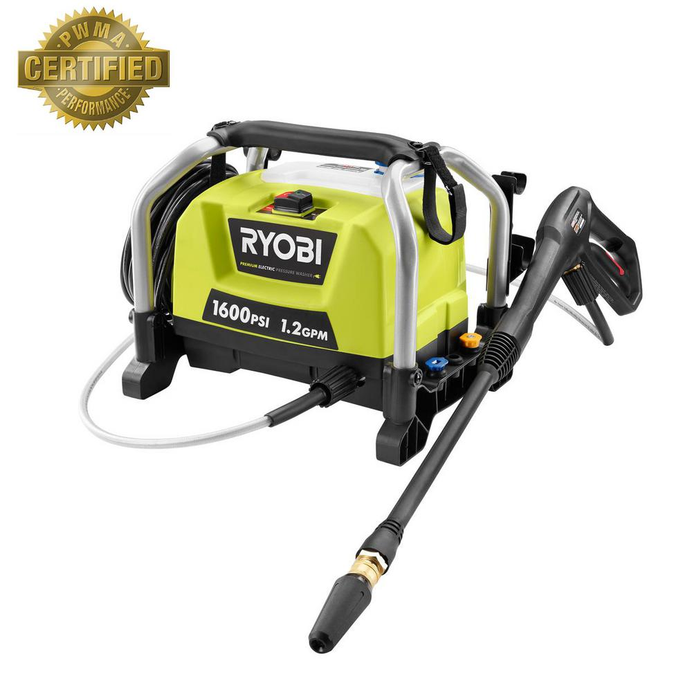 home depot pressure washers ryobi 1 600 psi 1 2 gpm electric pressure washer ry141600 28665