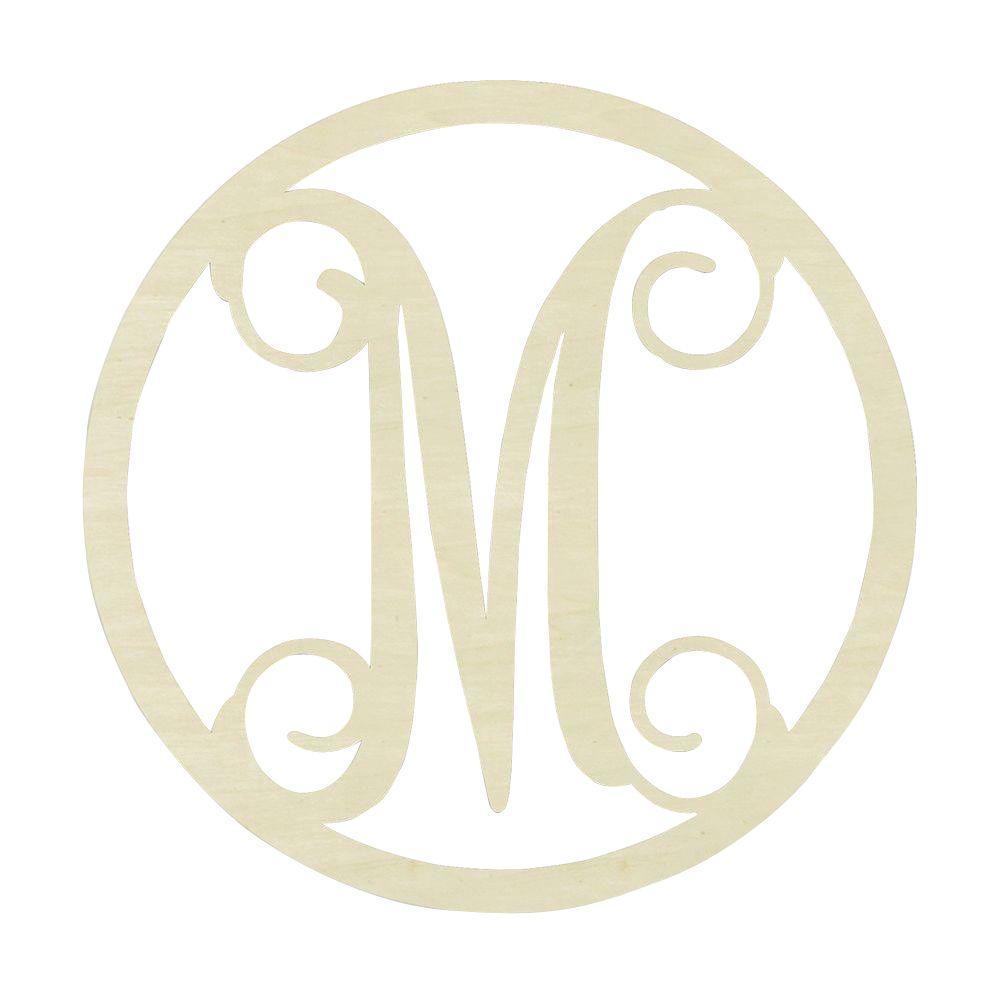 19 in. Unfinished Single Circle Monogram (M)