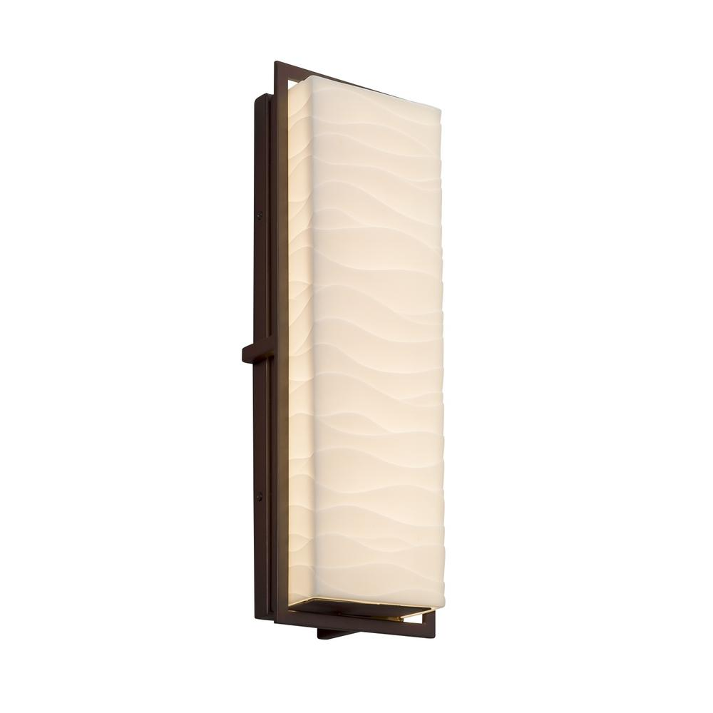 Justice Design Porcelina Avalon Large Dark Bronze Integrated LED Outdoor Wall Sconce with Waves Shade