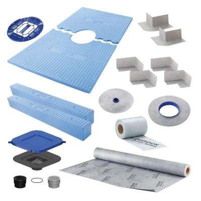 60 in. x 32 in. x 10 in. Shower Kit with Center Drain