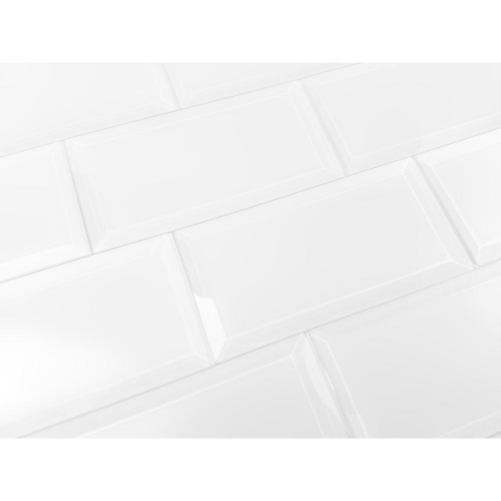 3 in. x 6 in. Frosted Elegance Isabelle White Matte Glass