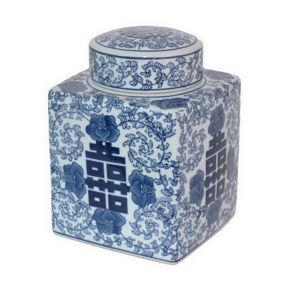 8.25 in. Blue and White Ceramic Jar