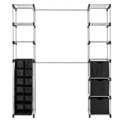 19.5 in. D x 52.75 in. W x 80.125 in. H Black/Silver Deluxe Double Rod Metal Freestanding Closet System
