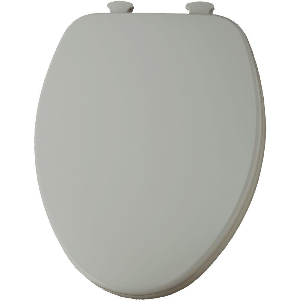Lift-Off Elongated Closed Front Toilet Seat in Ice Gray